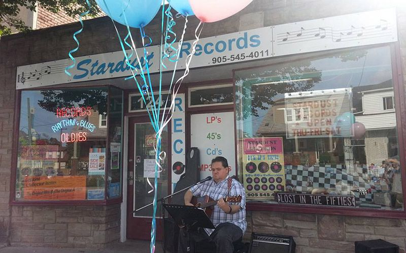 Stardust Records storefront music preformance
